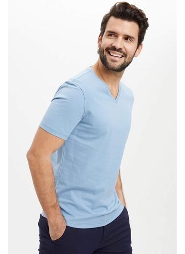 DeFacto V Yaka Slim Fit Basic Pamuklu Tişört Mavi